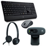 Ensemble sans fil souris + clavier (AZERTY Français) + Casque-micro USB + Webcam HD 720p compatible Facebook/Skype