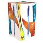 Pack de 100 stylos à bille rétractables bleus avec une pointe moyenne de 1.0 mm