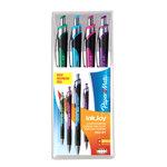 Etui de 4 stylos à bille rétractables avec une pointe moyenne de 1.0 mm (Bleu, Vert, Rose et Violet)