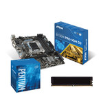 Carte mère Micro ATX Socket 1151 Intel B150 Express + CPU Intel Pentium G4400 (3.3 GHz) + RAM 4 Go DDR3 1600 MHz