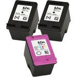 Pack de 3 cartouches d'encre génériques haute capacités (2 noires + 1 couleur) compatibles HP 62 XL (C2P05AE / C2P07AE)