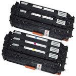 Pack de 5 toners compatibles HP CF380X / CF381A / CF382A / CF383A (2 noirs, 1 cyan, 1 magenta, 1 jaune)