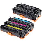 Pack de 5 toners compatibles HP CB540A et Canon EP710 (2 x noir, 1 x cyan, 1 x magenta, 1 x jaune)