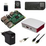 Carte Raspberry Pi 2 Model B + boîtier officiel + carte mémoire avec système d'exploitation pré-chargé + adaptateur secteur + module Wi-Fi + câble Ethernet + câble HDMI + clavier multimédia sans fil