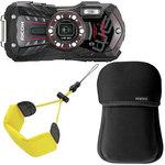Appareil photo baroudeur 16 MP - Zoom optique grand-angle 5x - Vidéo Full HD - Wi-Fi + Etui néoprène noir + Dragonne flottante jaune
