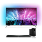 """Téléviseur LED 4K 55"""" (140 cm) 16/9 - 3840 x 2160 pixels - TNT, Câble et Satellite HD - Wi-Fi - Android - 2000 Hz + Barre de son Dolby et DTS avec caisson de basses sans fil, Bluetooth et NFC"""