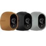 Lot de 3 coques en silicone (marron, argenté et noire) remplaçables pour caméra Netgear Arlo