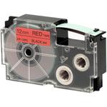 Ruban 12 mm x 8m noir sur rouge pour étiqueteuse KL-60, KL-120, KL-130, KL-820, KL-7400, KL-G2, KL-HD1