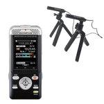 Dictaphone Wi-Fi compatible Smartphone 4 Go et lecteur de carte SD + Microphones de conférence