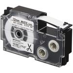 Ruban pour transfert textile 12 mm x 3.5 m noir sur blanc pour étiqueteuse KL-60, KL-120, KL-130, KL-820, KL-7400, KL-HD1, KL-G2