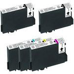 Pack de 5 cartouches d'encre compatibles Epson T061 (2 x noir et 1 x cyan, 1 x magenta et 1 x jaune)
