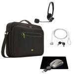 Sacoche pour ordinateur portable (jusqu'à 18'') + casque-micro stéréo, souris de voyage à câble USB rétractable, tapis de souris et antivol à clé OFFERTS !!!