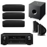Ampli-tuner Home Cinema 3D Ready 7.2 AirPlay avec 6 entrées HDMI 4K Ultra HD, HDCP 2.2, Wi-Fi, Bluetooth, Dolby Atmos et DTS:X + enceinte bibliothèque (3x) + enceinte bibliothèque (par paire) + caisson de graves