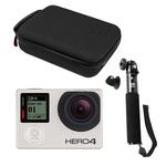 Caméra sportive HD à mémoire flash avec écran tactile, Wi-Fi et Bluetooth + Perche extensible pour caméra embarquée avec fixation GoPro + Mallette de rangement pour GoPro étanche