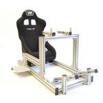 Cockpit universel en aluminium haute qualité avec siège baquet et supports ajustables pour volant et pédalier (idéal pour les simulations automobiles: iRacing, rFactor, RaceRoom, Project Cars, Assetto Corsa...)