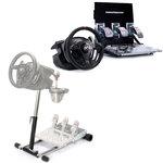 Ensemble de simulation avec volant à retour de force et pédalier 3 pièces ajustable (compatible PC et PlayStation 3) + Support pliable, réglable et transportable en métal pour volant