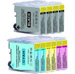 Pack de 10 cartouches d'encre compatibles Brother LC970 / LC1000 ( 4 x noir, 2 x cyan, 2 x magenta, 2 x jaune)