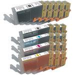 Pack de 17 cartouches d'encre (5 noires XL, 3 noires XL, 3 cyan, 3 magenta, 3 jaune) compatible Canon PGI-550 XL + CLI-551 XL