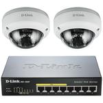 Switch Gigabit 8 ports 10/100/1000 Mbps dont 4 ports PoE + 2 caméras dôme PoE Full HD d'extérieur anti-vandal jour/nuit