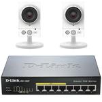 Pack de 2 caméras sans fil FullHD d'intérieur jour/nuit PoE + Switch Gigabit 8 ports 10/100/1000 Mbps dont 4 ports PoE