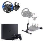 Console de jeux-vidéo nouvelle génération avec disque dur 500 Go et manette sans fil + volant et pédalier Thrustmaster T150 Force Feedback + support Wheel Stand Pro v2