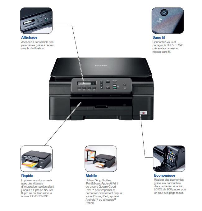 imprimante brother dcp-j132w gratuit