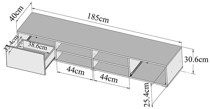 symbiosis meuble tv 4 niches 2 tiroirs 185 cm noir meuble tv symbiosis sur maginea. Black Bedroom Furniture Sets. Home Design Ideas