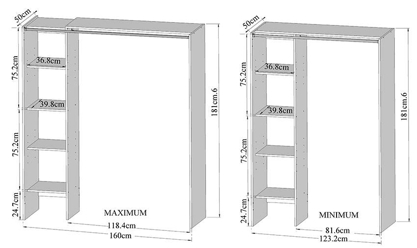 G n rique dressing extensible 123 160 cm colonne rideau taupe armoire de chambre g n rique sur - Portant extensible en largeur ...