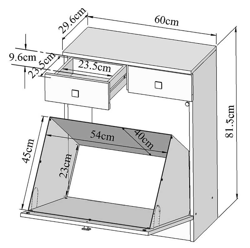 descriptif meuble bas de salle de bain avec bac linge taupe