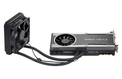 An EVGA hybrid 1070 FTW graphics card.