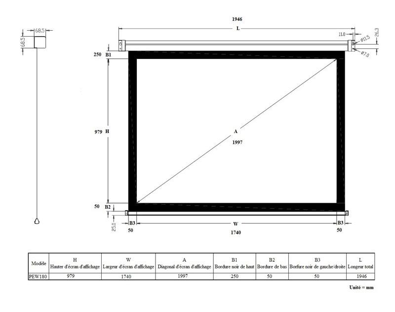 ldlc ecran motoris format 16 9 180 x 102 cm ecran de projection ldlc sur. Black Bedroom Furniture Sets. Home Design Ideas