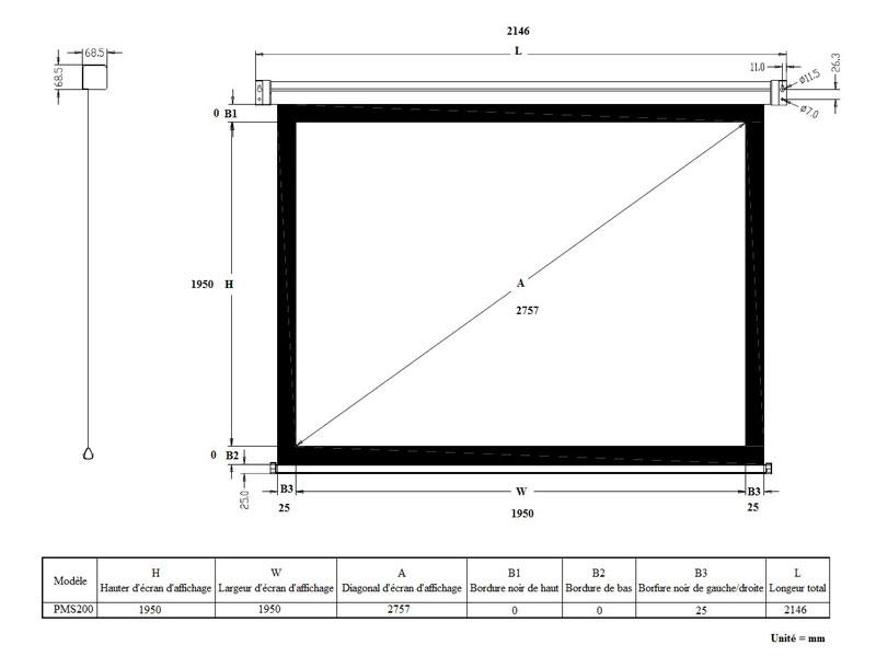 ldlc ecran manuel format 1 1 200 x 200 cm ecran de projection ldlc sur. Black Bedroom Furniture Sets. Home Design Ideas