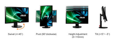 "ASUS 24"" LED 3D - VG248QE 1920 x 1080 pixels - 1 ms 5 optimark"
