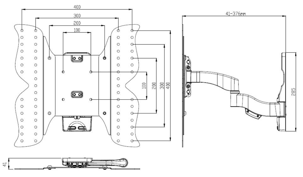 ldlc ae244a support mural pour cran plat slim de 26 52. Black Bedroom Furniture Sets. Home Design Ideas