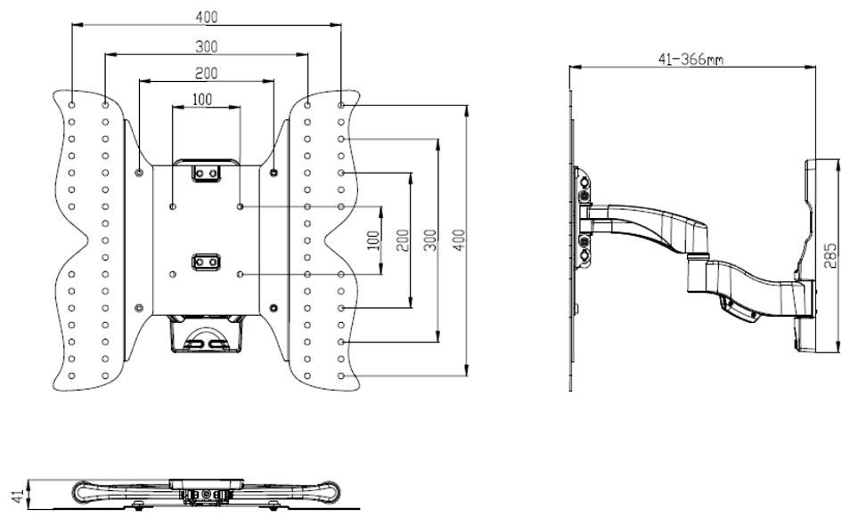 ldlc ae444a support mural pour cran plat ultra slim de 26 52 support mural tv ldlc sur. Black Bedroom Furniture Sets. Home Design Ideas