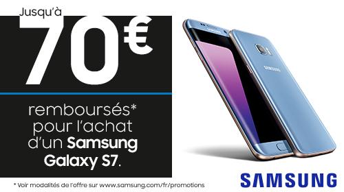 Samsung vous rembourse 70 € sur les Galaxy S7 et S7 Edge jusqu'au 09/01/2018