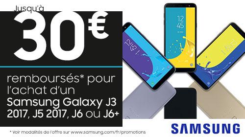 Samsung vous rembourse 30 € sur les Galaxy J6, J6+, J3 2017 et J5 2017 jusqu'au 09/01/2018