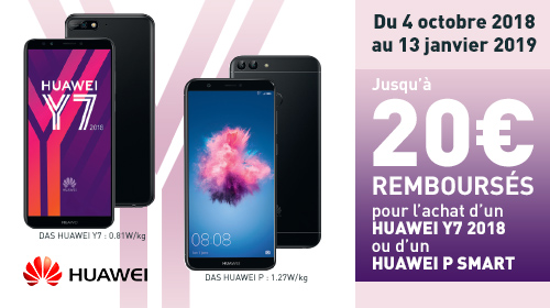 Jusqu'à 30€ remboursés par Huawei