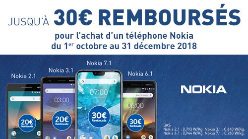 De 20€ à 30€ remboursés sur une sélection de smartphones Nokia