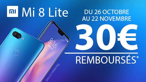 Xiaomi vous rembourse 30 € pour l'achat d'un Mi 8 Lite jusqu'au 31/12/2018