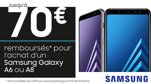 Samsung vous rembourse jusqu'à 70 € sur les Galaxy A8 et A6 jusqu'au 09/01/2018