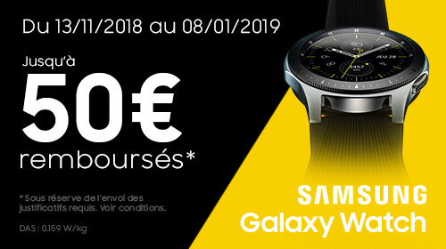 Samsung vous rembourse 50 € pour l'achat d'une Galaxy Watch jusqu'au 08/01/2019