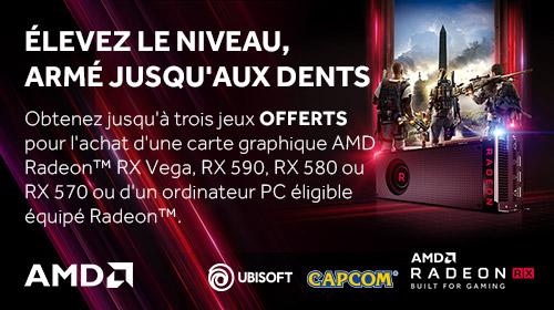 3 jeux offerts pour l'achat d'une carte graphique AMD Radeon RX Vega, RX 590