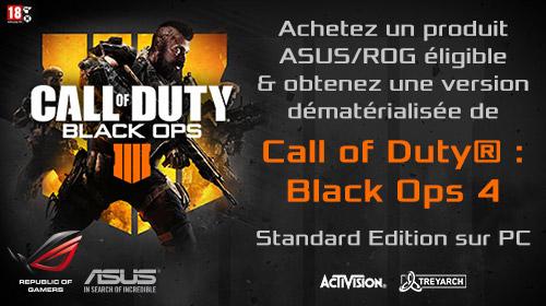 Call Of Duty Black Ops 4 offert pour l'achat d'une carte mère Asus et d'un processeur Intel
