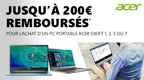 Acer vous rembourse jusqu'à 200€ sur les Swift jusqu'au 31 décembre 2018