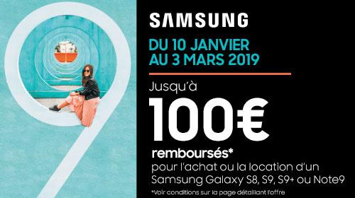 Samsung vous rembourse 100 € sur les Galaxy Note 9, S9, S9+ et S8 jusqu'au 03/03/2019