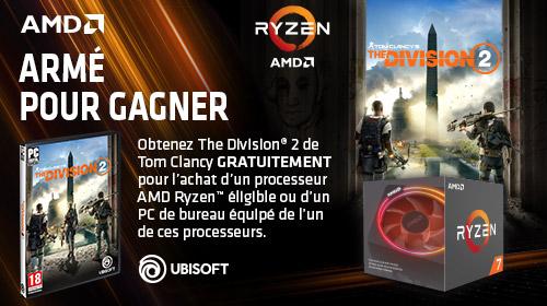 Tom Clancy's The Division 2 offert pour l'achat d'un processeur AMD Ryzen éligible jusqu'au 6/04/2019