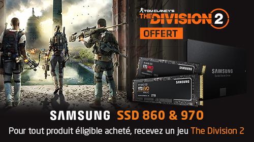 The Division 2 offert sur une sélection de SSD Samsung jusqu'au 10 Mai 2019