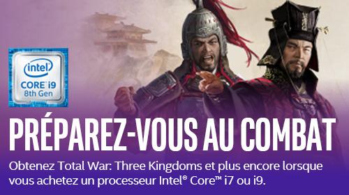Total War : Three Kingdoms offert pour l'achat d'un processeur Intel Core i7 ou i9 jusqu'au 30/09/2019
