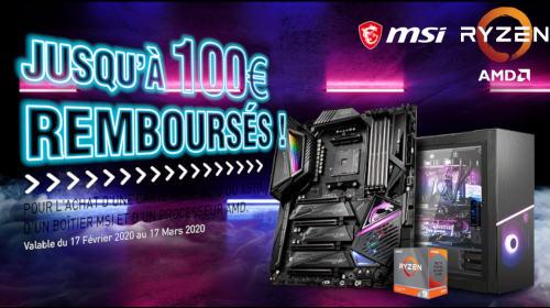 Jusqu'à 100€ remboursés par MSI jusqu'au 17/03/2020